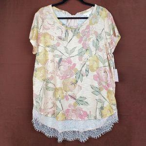 LC LAUREN CONRAD Floral Stripe Lace Trim Tee XL
